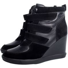 Black Wedge High Top Trainers ($15) ❤ liked on Polyvore