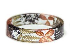 Gold and Black Flower and Fern Resin Bracelet