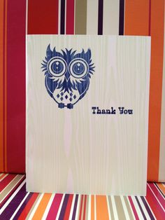 Owl Thank You note card. $4.00, via Etsy. Thank You Note Cards, Paper Shopping Bag, Business Cards, Owl, Arts And Crafts, Unique Jewelry, Handmade Gifts, Etsy, Inspiration