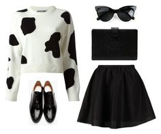 """""""Mooo"""" by beautifulnoice ❤ liked on Polyvore featuring moda, Moschino, ONLY, Maison Margiela y Chanel"""
