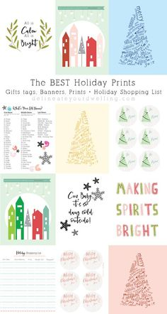 The BEST Holiday Prints, Gift Tags, Banners and a Holiday Shopping List, Delineate Your Dwelling #holidayprint #gifttags