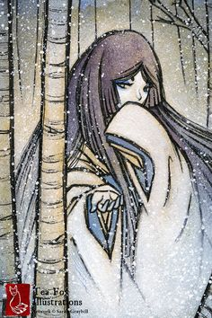 In Japanese folklore, the yuki-onna is a ghostly figure who often appears to those on snowy nights. She holds out her hand to the viewer,