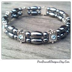 MAGNETIC Bracelet TRIPLE strength Hematite by PineBranchDesigns, $20.00