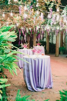5226 Elm - Houston unique wedding venue - Lavender lamour cocktail bar tables with hanging wisteria florals, perfect garden wedding.  Linens by House of Hough.  Planning by Gray & Associates.