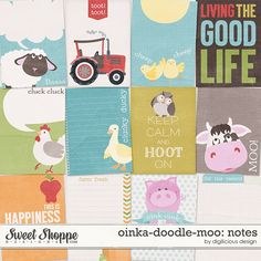Sweet Shoppe Designs :: NEW Releases :: New Releases - 8/9 :: Oinka-doodle-moo Notecards by Digilicious Design