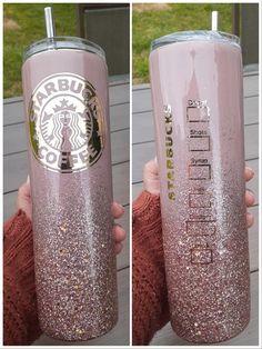 Starbucks Glitter Cup, Custom Starbucks Cup, Starbucks Tumbler, Starbucks Drinks, Diy Tumblers, Custom Tumblers, Water Bottle Crafts, Monogram Cups, Coffee Tumblr