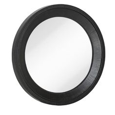 Found it at Wayfair - Round Black With Natural Wood Grain Circular Glass Shaped Hanging Wall Mirror