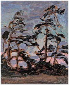 """Evening, Pine Island,"" Tom Thomson, oil on panel, x private collection. Canadian Painters, Canadian Artists, Landscape Art, Landscape Paintings, Group Of Seven Paintings, Group Of Seven Art, Emily Carr Paintings, Tom Thomson Paintings, Pine Island"