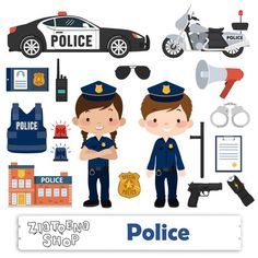 Little Police clip art Police Clipart Police Graphics Handcuffs Police Car Police station Police Officer Cop clip art Policeman clip art Police Cars, Police Officer, Senses Activities, Preschool Learning Activities, Kids Learning, Community Helpers Preschool, Cars Birthday Parties, Cartoon Styles