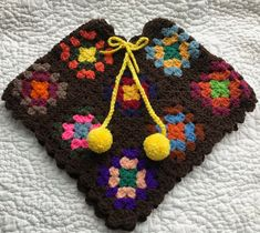 Girls Granny Square Poncho  Toddler Age 3-5 3T 4T by CreoCrochet