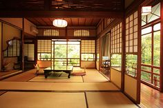 Iwaso Ryokan in business for 150 years   Japanese Guest Houses [I miss sitting and sleeping on tatami floors !] This reminds me of the two main rooms of my uncles house & just like this pic they looked out onto the gardens.