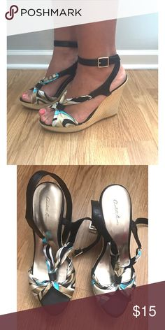 Charlotte Russe wedge heels. Charlotte Russe, colorful, wedge heels. Perfect for Spring and Summer seasons. Worn only a handful of times. They are in great condition. Charlotte Russe Shoes Heels