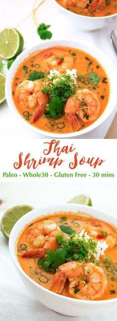 This delicious soup is easy to make and only takes 30 mins! Perfect for a quick weeknight meal. This Thai Shrimp Soup is paleo low carb keto and It's full of delicious flavors comforting and satisfying. This delicious soup Thai Shrimp Soup, Seafood Soup, Seafood Recipes, Shrimp Noodles, Thai Soup, Shirataki Noodles, Shrimp Dishes, Fish Recipes, Recipies