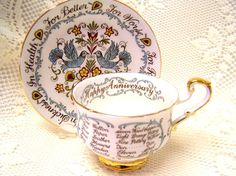Vintage Paragon Happy Anniversary Cup and Saucer by Cupsofthepast, $12.00