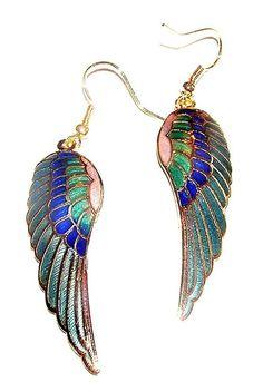 EARRINGS E16 Cloisonne Wires Colorful Enamel Blue ANGEL WINGS #Dangle