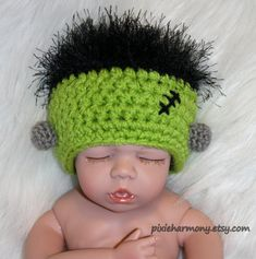 New Frankenbaby Hat for your babys first Halloween celebration! Also perfect for Reborn dolls and American Girl or other 18 dolls. This hat can be made larger. There is a $5 additional fee for size 6 months to toddler, and $8 additional fee for older children.  This hat will be made especially for you in my smoke-free, pet-free home.