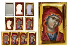 Religious Images, Religious Icons, Religious Art, Byzantine Icons, Byzantine Art, Painting Process, Painting Techniques, Russian Icons, Blessed Mother Mary