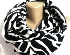 Chunky Zebra print scarf ,fleece scarf ,infinity scarves ,holiday fashion ,trendy scarf,unisex .