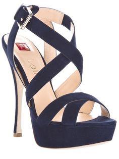 Navy Blue Strappy High Heels