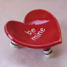 """valentine red ceramic heart dish """"be mine""""  candle dish, jewelry dish, red pottery by Mary Judy"""