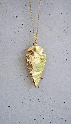 24k Gold Arrowhead Necklace- http://www.etsy.com/listing/103485899/pre-order-930-24k-gold-arrowhead#