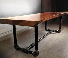 Custom furniture made from reclaimed wood and fallen trees. Live edge. | {Plunge Trestle Coffee Table}
