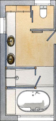 Resultado de imagen para planos de baños con ducha y bañera