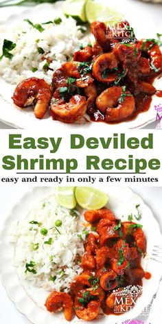 Easy Deviled Shrimp (Camarones a la Diabla) are juicy and really quick to make. Covered in a bright red chile pepper and chipotle sauce that are ready to eat in 30 minutes! (gluten free, low carb, paleo) #shrimp #spicyshrimp Shrimp Recipes Easy, Seafood Recipes, Mexican Food Recipes, Chicken Recipes, Dinner Recipes, Ethnic Recipes, Dinner Ideas, Meal Ideas, Easy Recipes