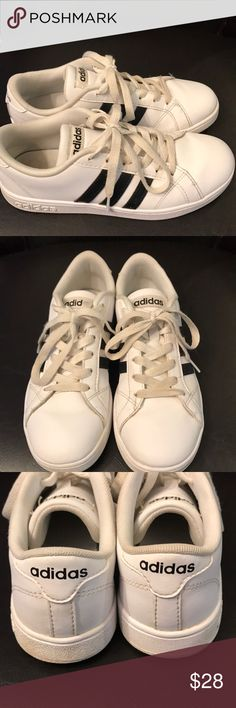 Girls Adidad White and black size 3 sneakers So on trend right now!  Girls white Adona's with black striped. Size 3 in fabulous shape. My little girl grew out of these before she could wear them more than a few times. adidas Shoes Sneakers