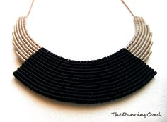 Macrame necklace with leather cord Black and by TheDancingCord