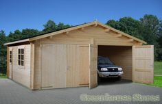 Palmako 18ft x 16ft Double Wooden Garage with Wooden Doors from Greenhouse Stores.  http://www.greenhousestores.co.uk/Palmako-18ft-x-16ft-Double-Wooden-Garage-with-Wooden-Doors.htm