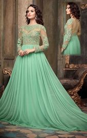 Picture of Loveable Sea Green Party Wear Gown