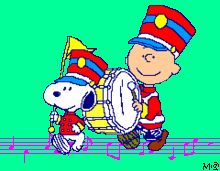 Snoopy with Charlie Brown.