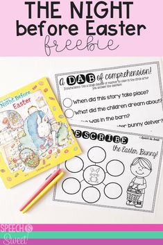 Freebie for The Night Before Easter! This is a great book to use in speech-language therapy during an Easter theme! You can use this book to address a variety of language skills such as sequencing, WH questions, comprehension, and describing! #speechtherapy #languagetherapy