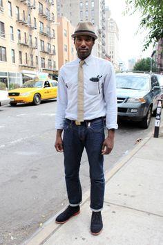 #menswear #hat #tie #denim #shoes #belt