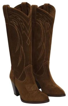 78908c18755 These Frye Brown Western Leather Embroidered Riding Tall Suede Boots Booties  Size US 10 Regular (M