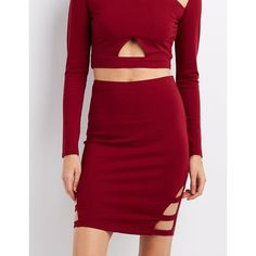 Charlotte Russe Caged Pencil Skirt ($15) ❤ liked on Polyvore featuring skirts, rhubarb, red pencil skirt, high-waisted skirts, stretch pencil skirt, red bodycon skirt and red high waisted skirt