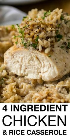 Chicken Rice Casserole makes for a crowd-pleasing dinner that comes together in under 5 minutes of prep time. Made with only 4 ingredients, this meal packs a lot of flavor in a filling one dish dinner that everyone will love! Chicken Onion Soup Mix Recipe, Campbells Soup Recipes Chicken, Cream Of Chicken Casserole, Crockpot Chicken And Stuffing, Healthy Chicken Recipes For Weight Loss Clean Eating, Crockpot Frozen Chicken, Campbells Chicken And Rice, Quick Easy Chicken Recipes, Recipes With Chicken Thighs