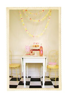 Pretty pastels, pink lemonade, miniature bunting.