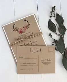 Rustic Boho Chic Wedding Invitation, Floral Wedding Invitation, Woodland invitation, Country wedding, Kraft Wedding Invite. Impress your wedding guests with this gorgeous & professionally designed custom wedding invitation suite featuring a stunning combination of a calligraphy font,