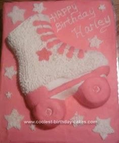 Homemade  Roller Skate Birthday Cake Design: My granddaughter was having a roller skate party. She asked for a roller skate cake so this is my  Roller Skate Birthday Cake Design.