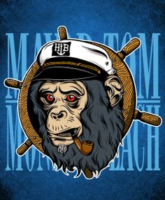 Mayor Tom by Gerry Rosales, via Behance Rhino Pictures, Mayor Tom, Gorillas In The Mist, Monkey Illustration, Graffiti, Octopuses, Orangutan, Primates, Illustrations And Posters