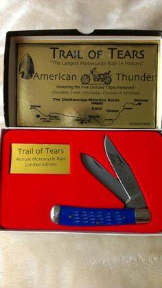Trail of Tears Annual Motorcycle Ride Commemorative Limited Edition pocket knife - Chattanooga to Waterloo Route honouring Native Americans
