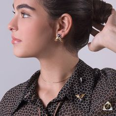 Handmade Black & Gold Plated Silver Stud Earrings Bees - Anthos Crafts