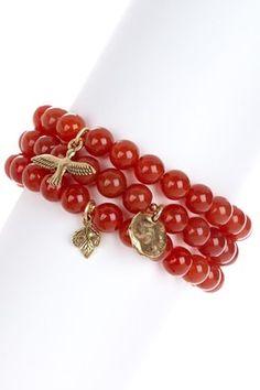 Carnelian Stretch Bracelet Set