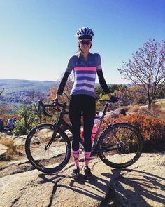 "Julia Kristin: ""Pink is my color. @rapha @thewonderfulsocks on top of Bear…"