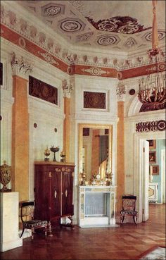 Pavlovsk Palace, Russia, The Pilaster Room created in 1800 by Giacomo Quarenghi, was meant to serve as a reception room in the suite of private apartments.