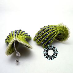 Soutache brooch and earrings by Antidotum on Etsy