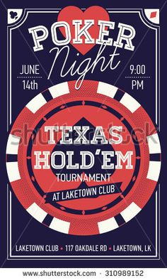 Cool Texas Hold'em poker night invite or banner template with rich lettering and casino poker chip. Ideal for printable gaming event promotion in clubs, bars, pubs and public places