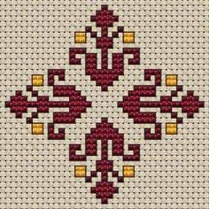 Small Decorative Motif cross stitch pattern Small pattern of decorative flowers in wine red and light tangerine colors.Suitable for biscornu and other crafts projects. Folk Embroidery, Hand Embroidery Designs, Cross Stitch Embroidery, Embroidery Patterns, Cross Stitch Borders, Cross Stitch Designs, Cross Stitching, Cross Stitch Patterns, Loom Patterns